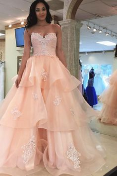 Pink Prom Dresses, Long Prom Dresses, Pink Strapless Backless Lace Organza Long Qunceanera Dresses Prom Dresses #promdresses #pinkpromdresses #lacedresses