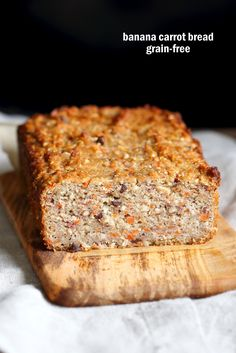 Vegan Gluten free Banana Bread. Grain-free Carrot Banana Bread. Flourless No Gum, no Aquafaba. Gluten-free Soy-free recipe. Soft Moist Banana Carrot Bread
