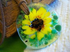 Fused Glass Sunflower Necklace