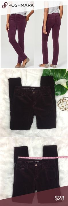 Ann Taylor LOFT Curvy Skinny Burgundy Corduroys Ann Taylor LOFT Curvy Skinny Burgundy Corduroys. Size 27/4 with 9' rise and 29' inseam. Pre-owned condition with basic wear.  ❌I do not Trade 🙅🏻 Or model💲 Posh Transactions ONLY LOFT Pants Straight Leg