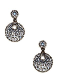 Aishwarya Rainbow Moonstone Cutout Double Disc Drop Earrings