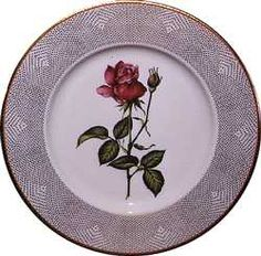 """State china from the Lyndon B. Johnson administration, 1968. For her White House china pattern, designed by Tiffany and Company, Lady Bird Johnson chose American flowers, reflecting her interests in the environment. This dessert plate features an American Beauty rose, the official flower of the District of Columbia. Through her """"Beautify America"""" campaign, the first lady urged citizens to clean up and improve their neighborhoods and planted flowers along the nation's highways and in public…"""