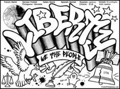 free graffiti coloring page  Liberty Graffiti free coloring printable for kids liberty, political graffiti, graffiti diplomacy