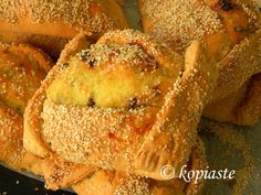 Flaouna pl. flaounes is a traditional cheese bread we make in Cyprus during Easter, with phyllo filled with a special Cypriot cheese made during easter and mint.