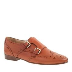 NEW  J CREW Women  Perforated monk strap loafers A9821 Warm Cognac 8.5  $149 #JCrew #Oxfords
