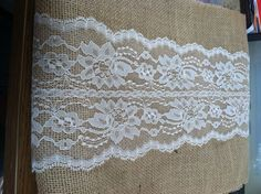 Burlap & Lace Table Runner - $14 etsy if you like this we could make it soooo easy it isn't even funny