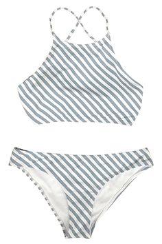 fc15542e7 Cupshe Fashion Women s Stripe Printing Tank Padding Bikini Bathing Suit at  Amazon Women s Clothing store