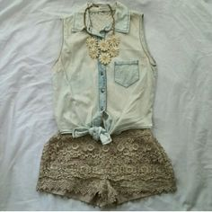 Sans Souci Lace Shorts Top and necklace also for sale! Bundle for a deal. :) Sans Souci Shorts