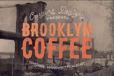Check out Brooklyn Coffee Custom Font by Cruzine on Creative Market  Vintage style custom font in 2 versions - regular and outline  TTF, OTF and WOFF formats Business Brochure, Business Card Logo, Typography Inspiration, Design Inspiration, Creative Inspiration, Design Ideas, Coffee Fonts, Coffee Typography, Brooklyn Coffee