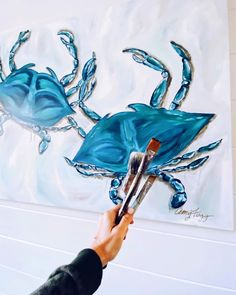 """A M Y. F O G G. A R T on Instagram: """"Blue Crab Commission Complete ✅. I can't wait to show you this piece in its beautiful new home. I love when I get to work directly with…"""" Amy, New Homes, Canning, My Love, Blue, Beautiful, Instagram, Home Canning, Conservation"""