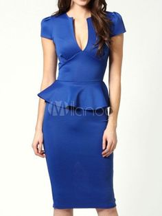 Attractive Blue Notched Neckline Applied Polyester Womens Bodycon Dress. Get 10% Off any Full Price Order of $99 or more - Apply this Discount Code at Checkout Page