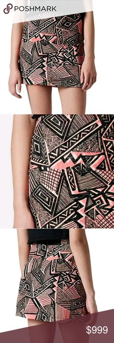 Topshop Geo Print A-Line Abstract Skirt sz 2 Has a modern and edgy designed pattern, almost an Aztec retro 80s look to it. Bubblegum pink clashes with black lines and stripes. high fashion street chic Topshop Skirts A-Line or Full