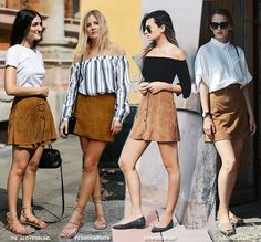 In Fashion   Suede Mini Skirts - Blue is in Fashion this Year