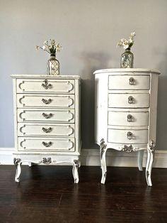 Shabby Chic White & Silver End Tables - Custom Order for Kristine