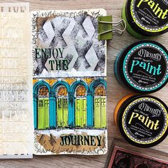Art journal page by Rachel Greig (inspired by Nathalie Kalbach) using Darkroom Door Arches Photo Stamp, Journey Medium Stencil and Dylusions Paints. Created in a Dyalog Travelers Notebook.