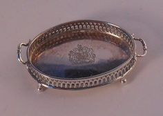 Miniature Silver Gallery Footed Tray from England signed #E