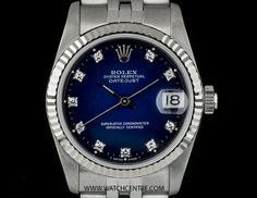 Rolex Stainless Steel O/P Blue Diamond Dial Mid-Size Datejust 68274  http://www.watchcentre.com/product/rolex-stainless-steel-o-p-blue-diamond-dial-mid-size-datejust-68274/7866  #Rolex #StainlessSteel #Diamond #Datejust #Mid-Size #Unisex #Wristwatch #Luxury #Timepiece #WatchCentre