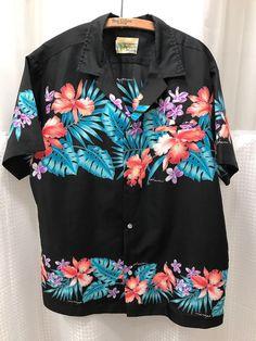 af7891274 70's Made in Hawaii Men's Polyester Black Bright Aloha Big Collar Shirt XL # Hawaiian #