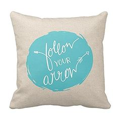 Generic Custom Square Follow Your Arrow Throw Pillow Cover Cotton Pillowcase Cushion Cover 16 X 16 | {Teal And Burlap}