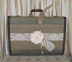Vintage Suitcase Wedding Card Holder Shabby Chic Wedding Rustic Country Wedding on ETSY
