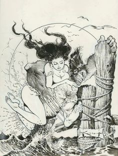 Black and White artwork by Sam Kieth: Wolverine with girl