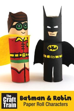 Make batman and Robin from paper rolls! This super hero craft is made by snipping the paper rolls to size, painting them and then making a cape from felt. The characters are based on Batman and Robin from The Lego Batman movie Batman Crafts, Avengers Crafts, Cute Batman, Lego Batman, Gotham Batman, Batman Art, Creative Activities For Kids, Easy Crafts For Kids, Superhero Coloring Pages
