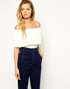 Image 1 of ASOS Premium Knit Top in Pleated Bardot Shape