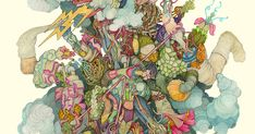 Minneapolis-based artist Alex Kuno imagines a world of twisted organic beings that borrow elements of plant life, anatomy, and the natural world. The artist admits that his illustrations are likely to creep some people out, but purposefully includes ideas that highlight life and growth, creating a d