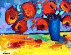 Original Oil Painting Impressionist Flowers Impressionism Still Life Vase Tulips #Impressionism