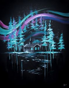 Teal blue trees on black background painting with cabin and swirly sky.