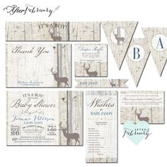 Reg. $55 • Customizable in any font colors & wording • Digital File in High Resolution 300 dpi; JPEG & PDF (non-editable) • DIY- PRINT IT YOURSELF • No actual prints will be shipped  ▶THIS 8-PIECE-SUITE INCLUDED: • Invitation (5x7 or 4x6) • Thank You Card (4x6 Flat Card) • 3X3 Diaper Raffle • 3X4 Book Request • Banner (each letter 8.5x11 sheet, custom wording up to 18 letters) • Cupcake Flag / Straw Flag • Bottle Water Label • 4X9 Wishes Card ▶ HOW TO ORDER? 1. Select file size & 1st proof…