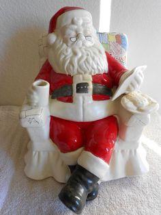Santa Claus Reading Christmas List Ceramic Cookie Jar Relaxing in Chair