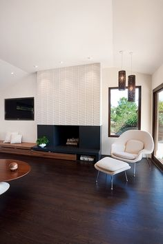 Moraga Residence - midcentury - Family Room fireplace with built in bench for seating My Living Room, Home And Living, Living Spaces, Fireplace Surrounds, Fireplace Design, Tile Fireplace, Fireplace Furniture, Fireplace Hearth, Basement Fireplace