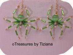Image detail for -Green Catseye Beaded Spider Earrings