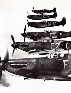 Supermarine Spitfires with RAF No. 65 Squadron out of RAF Hornchurch.