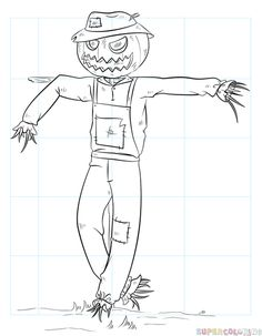 How To Draw A Scarecrow Step By Drawing Tutorials For Kids And Beginners