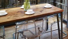 Dining Table - rustic. Timber Top / Steel Frame and Legs. Worn, distressed timber creates a rustic feel