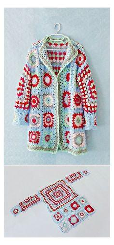Granny Square Pattern Free, Granny Square Sweater, Sunburst Granny Square, Granny Square Bag, Granny Squares, Square Blanket, Crochet Jacket, Crochet Cardigan, Crochet Sweaters