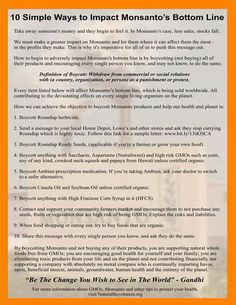 Graphic of 10 Simple Ways to Impact Monsanto's Bottom Line. Orange border with writing inside with background of Monsanto in image Just Say No, Let It Be, Green News, Ms Gs, Greed, Get Healthy, Healthy Eats, Simple Way, Funny Photos
