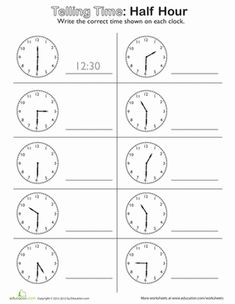 Second Grade Time Worksheets: Telling Time: On the Half Hour Clock Worksheets, 1st Grade Math Worksheets, Math Workbook, Teacher Worksheets, Worksheets For Kids, Math Clock, Clock Games, Addition Words, Time To The Hour