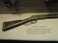 """""""The famous Sioux Chief Sitting Bull surrendered this model Winchester to Major David H. Bratherton at Fort Buford, on August Many Indian warriors used repeating rifles in the Plains-Indian wars of the Us History, American History, American Art, Battle Of Little Bighorn, Rifle Stock, Lever Action Rifles, Brass Tacks, Sitting Bull, Cool Guns"""