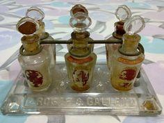 1900s ROGER & GALLET ANTIQUE BACCARAT PRESSED GLASS PERFUME TESTER SET 6 BOTTLES