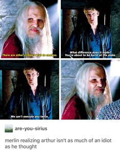 """When curiosity is no match for practicality?>>> merlins face is just """"aw shoot he's not as stupid as I thought"""" Merlin Memes, Merlin Funny, Merlin Quotes, Sherlock Quotes, Merlin Show, Merlin Fandom, Merlin Merlin, Movies Showing, Movies And Tv Shows"""