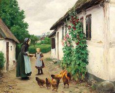 Visiting grandmother in Jyllinge by Hans AndersenBrendekilde 1857-1942 Deens /Danish
