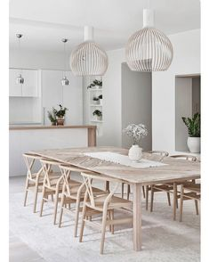 Modern Farmhouse Dining Room Decor Ideas – Best Home Decorating Ideas - Page 26 Dining Room Design, Dining Room Furniture, Dining Room Modern, Modern Rustic Dining Table, Beach Dining Room, Scandinavian Dining Table, Open Kitchen And Living Room, Beautiful Dining Rooms, Scandinavian Kitchen