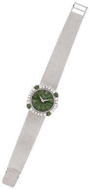A jadeite and diamond wristwatch, by Chopard #christiesjewels #watch