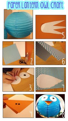 Owl craft! Owl made out of a paper lantern! Super adorable for kids and you can use Velcro for different eyes and mouth to practice expressions!!