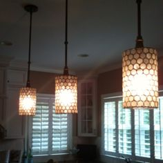 New hanging pendant lights in my clients kitchen. She loves them and so do I!
