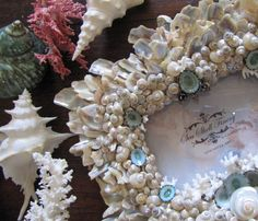 Fine Shell Art 4 x 6 Photo Frame Seashell Art, Seashell Crafts, Beach Crafts, Seashell Frame, Diy Crafts, Seashell Projects, Shell Beach, Coral, Coastal Decor