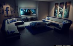 Facebook living room at night with little PS  (c4d & PS)  http://www.royal-graphic.com